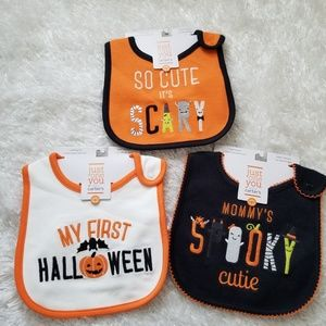 🆕️ 3 Carter's Halloween Infant baby teething bib